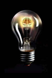 Innovation Light Bulb With Brain Power
