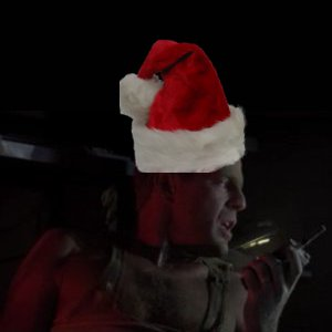 John McClane aka Bruce Willis in Die Hard with Santa Hat