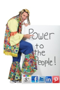 Hippie Holding Power to the People Sign with Social Media Icons