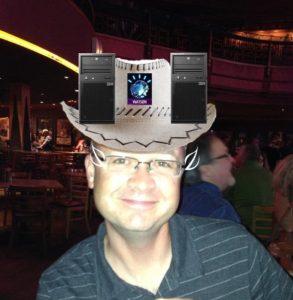 IBMer with Cowboy Hat, Watson and Tealeaf Logos
