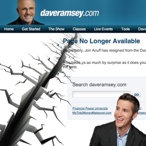 Jon Acuff and Dave Ramsey Split by a Chasm on Ramsey Website