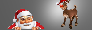 Santa Claus, the Bad Boss looks up at Rudolph the great Servant Leader